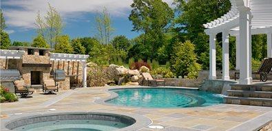 Kidney Pool, Bluestone, Raised Bond Beam Swimming Pool Yard Boss Landscape Design LLC Mattapoisett, MA