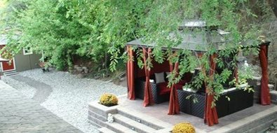 Covered Patio Asian Landscaping Land Works Landscaping Ltd. Kelowna, British Columbia
