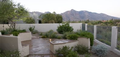 Patio Walls, Round Patio Asian Landscaping Casa Serena Landscape Designs LLC Las Cruces, NM