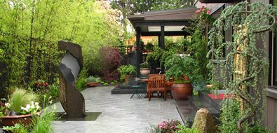 Japanese Patio, Bamboo Screen Seattle Landscaping Stock & Hill Landscapes, Inc Lake Stevens, WA