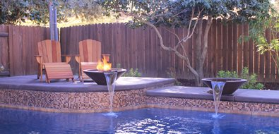 Pool Water Features, Raised Bond Beam Northern California Landscaping Poseidon Pools Folsom, CA