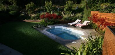 Backyard Spool Spas Lisa Cox Landscape Design Solvang, CA