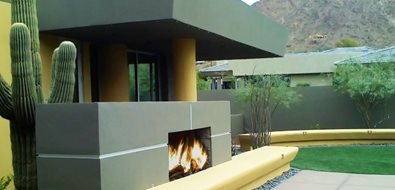 Contemporary Outdoor Fireplace