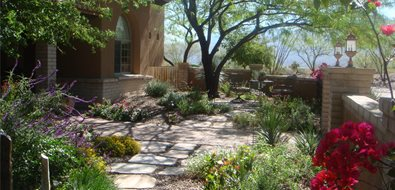 Garden Walkway Asian Landscaping Casa Serena Landscape Designs LLC Las Cruces, NM