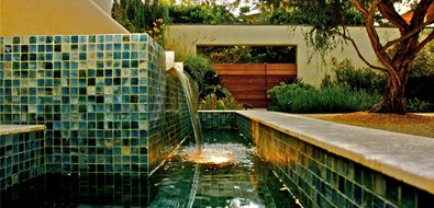Custom Fountain, Tile Fountain Pond and Waterfall Fiore Design North Hollywood, CA