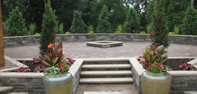 Diamond Fire Pit, Glazed Containers Midwest Landscaping Outdoor Innovations Aledo, IL