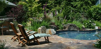 Flagstone Pool Deck, Pool Boulders Seattle Landscaping Classic Nursery and Landscape Woodinville, WA