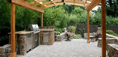 Outdoor Cooking Area, Arched Pergola Pergola and Patio Cover All Oregon Landscaping Inc Sherwood, OR