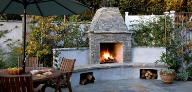 Ledgerstone Gas Backyard Fireplace Stout Design Build Los Angeles, CA
