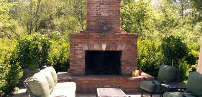 Wood outdoor fireplace