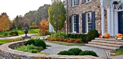 formal front yard stone wall