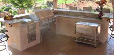 Split Level Outdoor Kitchen Northern California Landscaping Simple Elegance Rocklin, CA