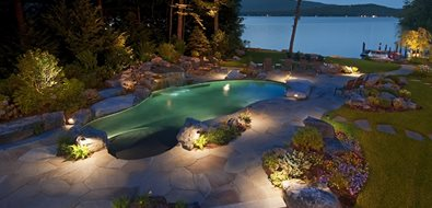 Pool At Night Swimming Pool Belknap Landscape Co., Inc. Gilford, NH