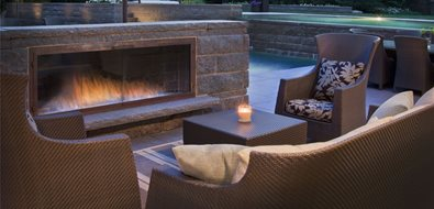 low outdoor fireplace