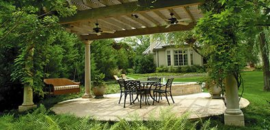 round concrete patio pergola