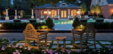 Brick Pool House, Roman Columns, Night Lighting Lighting Zaremba and Company Landscape Clarkston, MI