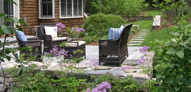 Back Patio, Stone Paving, Wicker Furniture Northeast Landscaping A. Bonadio & Sons, Inc. Waltham, MA