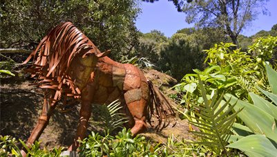 Sculpture, Horse, Metal Driveway Landscaping Network Calimesa, CA