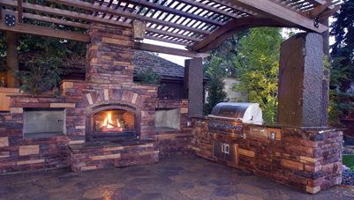 Outdoor Kitchen And Fireplace Outdoor Fireplace Copper Creek Landscaping, Inc. Mead, WA