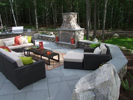 Outdoor fireplace, seating area