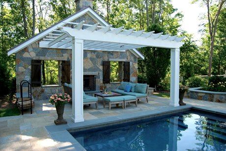 fireplace supporting a pergola