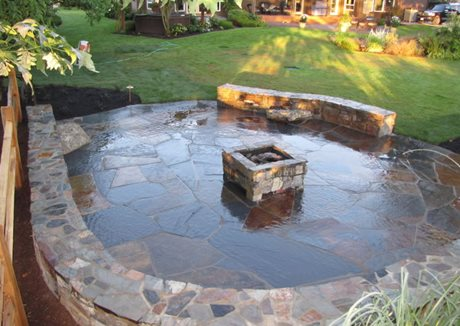 Square Fire Pit, Stone Fire Pit, Stone Seat Walls Woody's Custom Landscaping Inc Battle Ground, WA