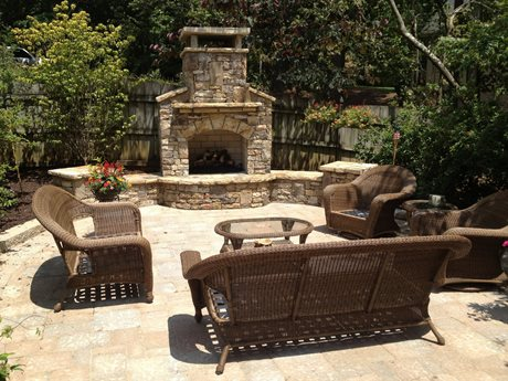 Patio Hangout With Fireplace