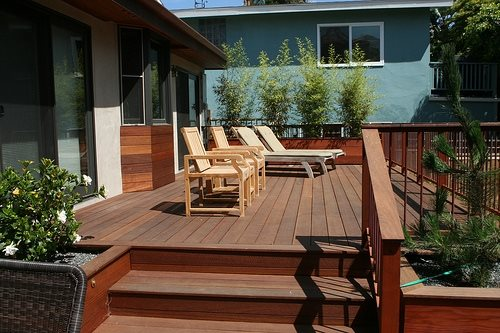 Deck size height landscaping network for Split level garden decking