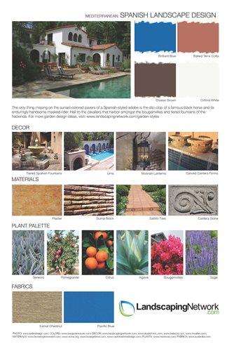 Garden style design sheets landscaping network for Spanish landscape design