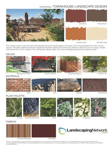 Garden style design sheets landscaping network for Townhouse landscape design
