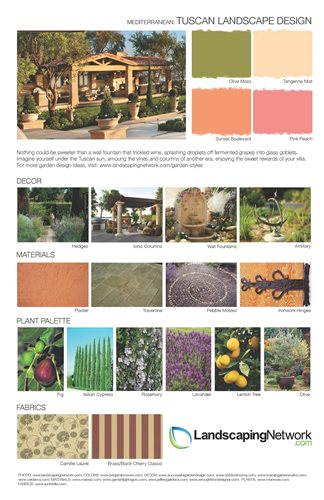 Garden style design sheets landscaping network for Tuscan landscape design
