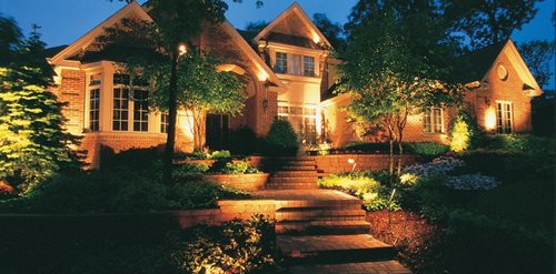 Front yard lighting mediterranean landscaping peach tree landscaping lascassas tn