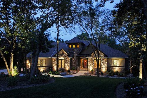 front yard lights mediterranean landscaping mckay landscape lighting omaha ne - Outdoor Lighting Design Ideas