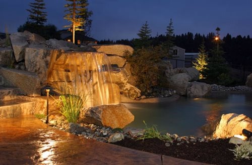 ... Waterfall Lighting Mediterranean Landscaping Copper Creek Landscaping,  Inc. Mead, WA