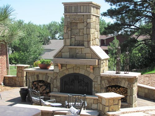 Outdoor stone fireplace landscaping network for Patio fireplace plans