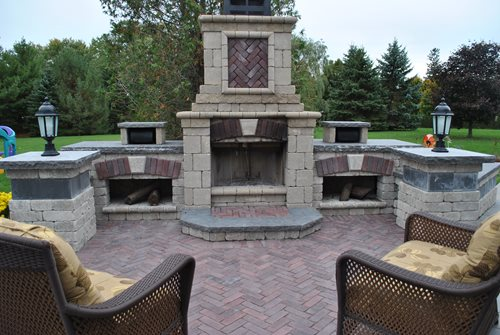 Outdoor fireplace kits landscaping network Pre fab outdoor fireplace