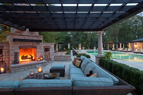 Covered Fireplace Patio, Outdoor Sectional Outdoor Fireplace Zaremba and  Company Landscape Clarkston, MI - Outdoor Gas Fireplaces - Landscaping Network