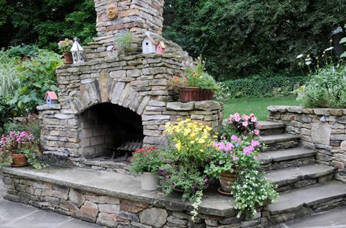 Outside Stone Fireplace Ideas: Landscaping Pittsburgh