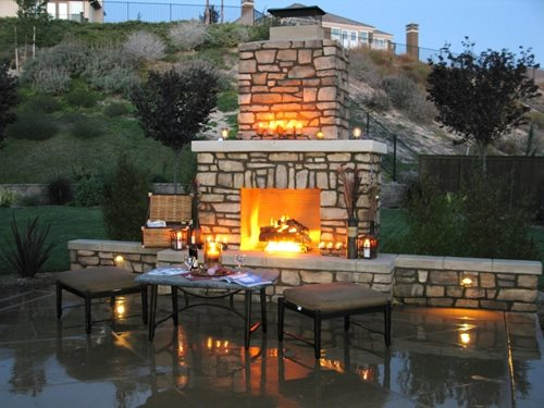 Outdoor Fireplace Chimney - Wood Burning Outdoor Fireplace - Landscaping Network