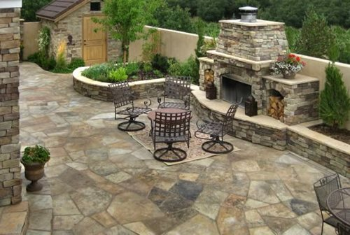 How to install flagstone landscaping network for Attractive patio stone fireplace designs
