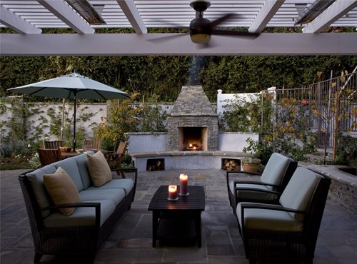 Small Backyard Fireplace