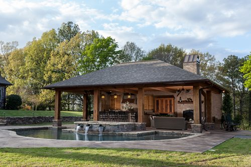 Rustic mississippi pool house landscaping network for Pool house plans