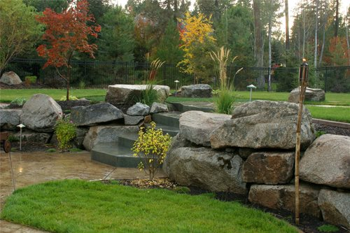 Front Yard Landscaping Using Boulders