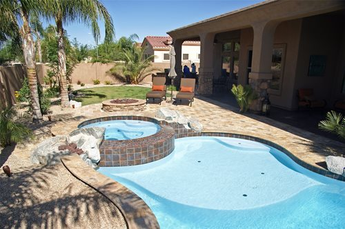 Tropical arizona pool landscaping network for Pool design az