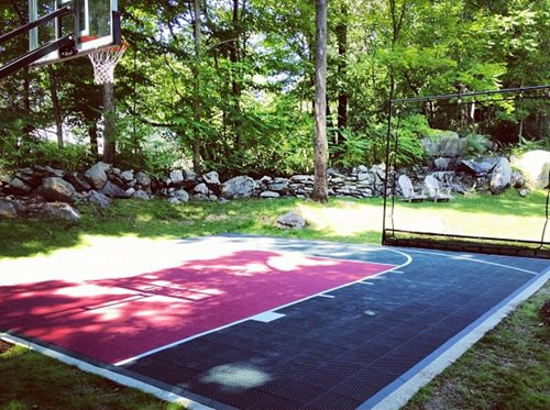 backyard basketball court cost flex court sport courts landscaping