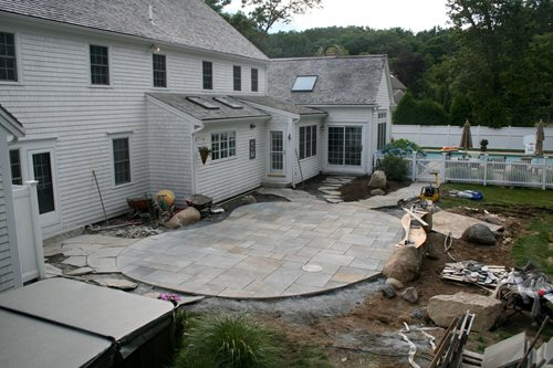 Rustic Pool House in Mississippi & South Shore Bluestone Patio - Landscaping Network
