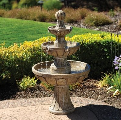 Outdoor fountain materials stone fiberglass ceramic for Garden fountains phoenix