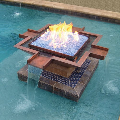 Water And Fire Features For Backyards :  copper fire & water pot features four spillways and blue fire glass
