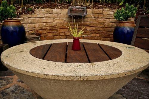 Concrete fire pit table propane fire pit table patio for Concreteworks fire table