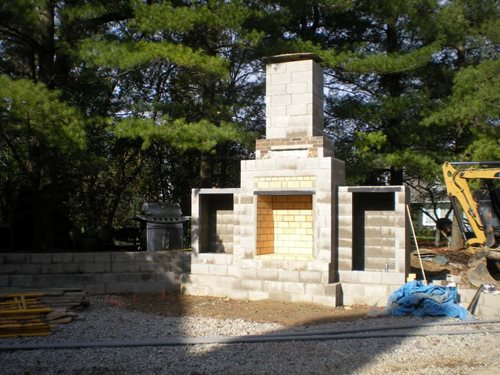 Building an outdoor fireplace landscaping network for Fireplace construction plans